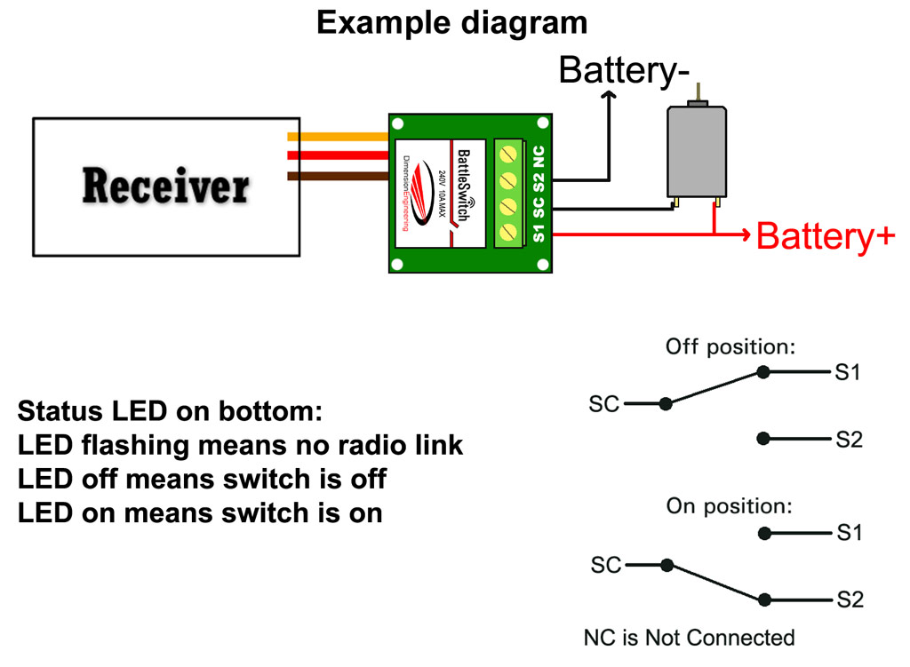 BattleSwitch Radio Controlled 10A Relay Switch | Battle Switch Wiring Diagram |  | Dimension Engineering