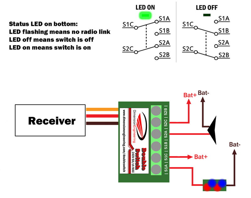 DoubleSwitch radio controlled dual 8A relay | Battle Switch Wiring Diagram |  | Dimension Engineering